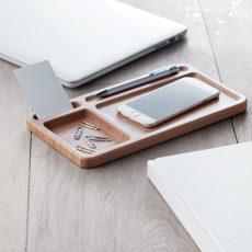 CLEANDESK asztali rendszerező bambuszból vezeték nélküli töltővel