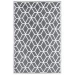 Kültéri szőnyeg, szürke-fehér rombusz mintával
