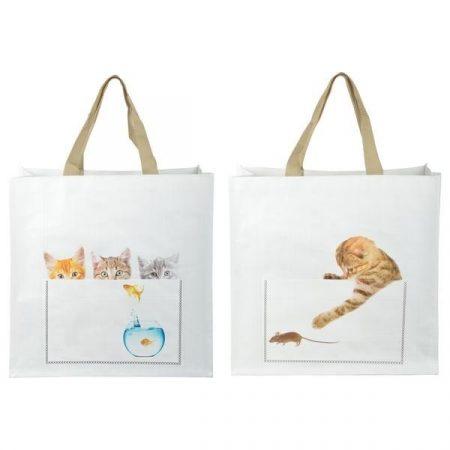Bevásárló táska cica mintákkal